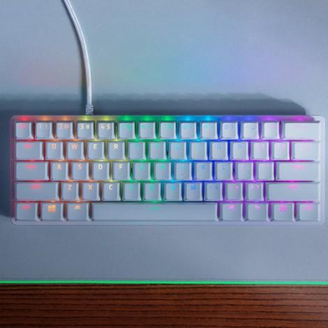 Bàn phím có dây Razer Huntsman Mini (Mercury)60% Optical Clicky Purple Switch RZ03-03390300-R3M1